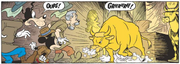 Un taureau en or apparaît soudainement et effraie Mickey, Dingo et le professeur Diggins
