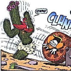 Un oiseau s'agrippant à un cactus pour éviter Donald.