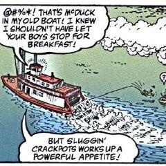 Un pêcheur, emporté par le vapeur.