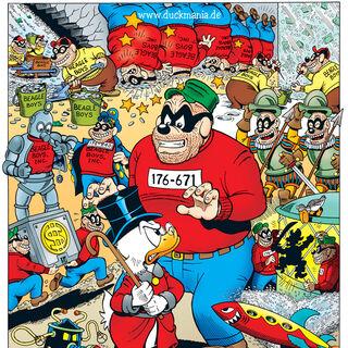 Illustration de Don Rosa pour les soixante ans de Picsou, ayant pour thème les frères Rapetou. La deuxième apparition des bandits est représentée tout en haut à droite.