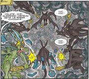 Raskan et les orques-chauves-souris attaquant