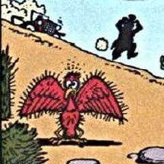 L'oiseau recouvert de piquants de cactus.