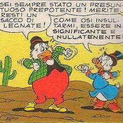 Phil avec Balthazar Picsou dessiné par Giorgio Bordini en 1965.
