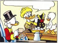 Elvire Écoutume offrant à Donald Duck sa vareuse