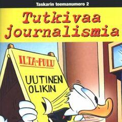 Couverture de la revue finlandaise <i>Aku Ankan taskukirja - Teema</i> n°2 du 7 septembre 2001, illustrant ce récit. Elle reprend une case de <a href=
