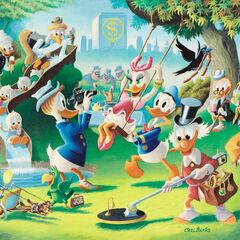 Géo en haut à gauche de la peinture <i>Holiday in Duckburg</i>.