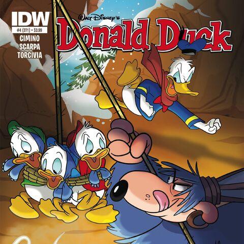 Couverture de la revue américaine <i>Donald Duck</i> n°371 du 19 août 2015 illustrant ce récit. Elle est dessinée par Dave Alvarez.
