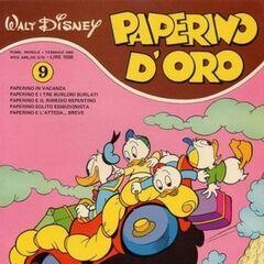Couverture du mensuel italien <i>Paperino d'oro</i> n°9 illustrant l'histoire et dessinée par <a href=