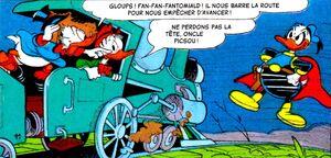 Picsou et Gontran effrayé par l'hologramme de Fantomiald!