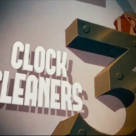 <i>Title card</i> de <i>Clock cleaners</i>.