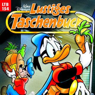 Couverture de la réédition de la revue allemande <i>Lustiges Taschenbuch</i> n'°154 du 31 août 2004 illustrant ce récit. Elle est dessinée par Josep Tello Gonzalez.