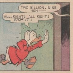 Picsou dans le gag <i>Un sacré bon calcul</i> de Carl Barks de 1966.