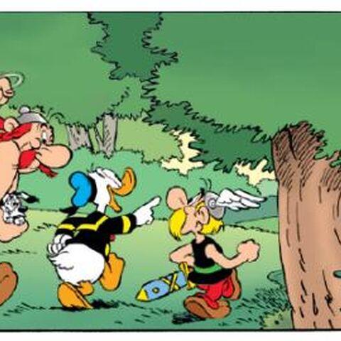 Astérix, Obélix et Idéfix avec Donald.