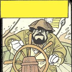 Le capitaine aux commandes de son navire.