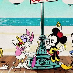Daisy a honte de Donald, puisqu'il est tout nu sur la plage, devans tout le monde!