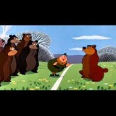 Les ours, Nicodème et le ranger Lanature dans le parc.