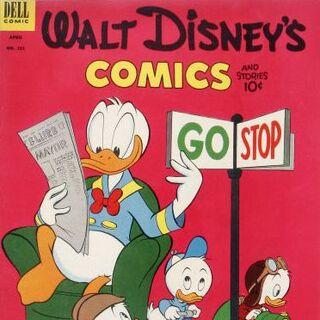 Couverture du <i>comic book Walt Disney's Comics and Stories</i> n°151 où est parue pour la première fois l'histoire, réalisée par <a href=