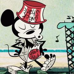 Mickey remarque qu'il est nu, et va donc se cacher.