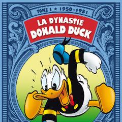 Couverture de <i>La Dynastie Donald Duck</i> qui reprend une des cases de <i>Sur les traces de Super Duflair!</i>.