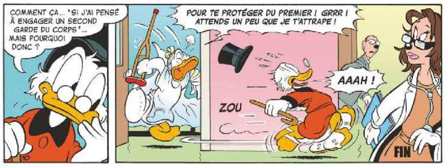 Donald pourchasse Picsou après la diminution de sa prime de risque
