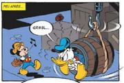 Donald prisonnier d'un tonneau suspendu dans les airs
