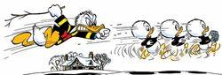 Donald Duck poursuivant ses neveux Promesses glissantes