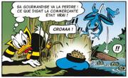La grenouille bleue est attirée par la nourriture dans le béret de Donald