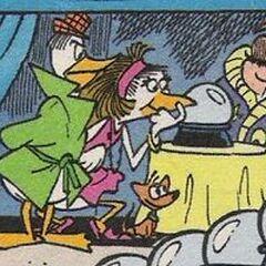 0.0. Duck, Mata Harrier, le chien de 0.0. Duck et Blonk.