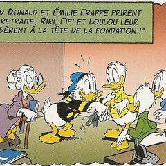 Donald en compagnie de ses neveux et de Miss Frappe dans le futur, dans l'histoire <i>Où est passé Picsou?</i>
