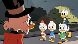 Balthazar Picsou rencontrant Riri, Fifi et Loulou Duck