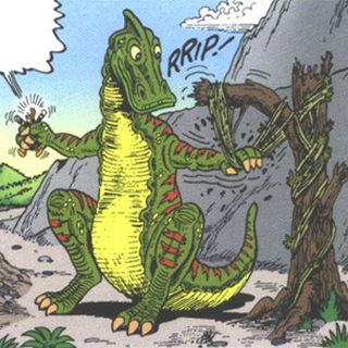 Hadrosaure, herbivore à bec de canard.