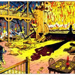 Picsou voyant le bar où il se rendait régulièrement dans sa jeunesse en flammes, et où Goldie l'attend.