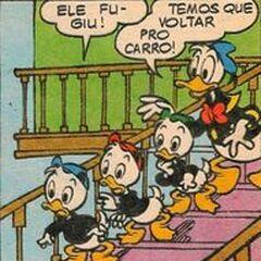 Riri, Fifi et Loulou avec leur oncle Donald, dessinés par <a href=