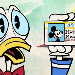 Donald s'apprête à payer mais il doit sortir sa carte d'identité au moment du payement. Au moment de la sortir, il sort celle de Mickey!