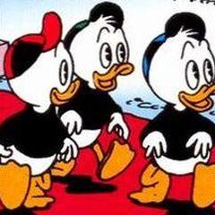 Riri, Fifi et Loulou dessinés en 1989 par <a href=