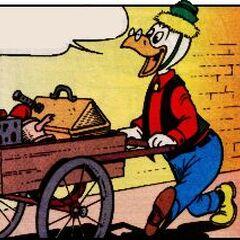 Géo Trouvetou dessiné par Don Rosa dans <i>Fait comme un rat</i> de février 1990.