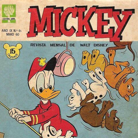 Couverture du magazine brésilien <i>Mickey</i> nº91, réalisée par Jorge Kato.