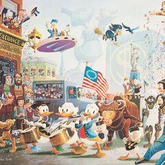 Géo en arrière-plan de la peinture <i>July Fourth in Duckburg</i>, aux côtés de <a href=