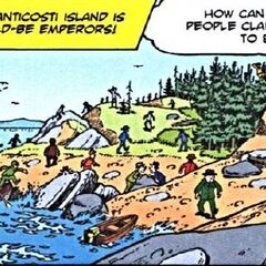 Scènes de recherche, parmi lesquelles la chute de quelqu'un, quelqu'un sur un arbre et un homme retenu scrutant le fond marin retenu par un autre.