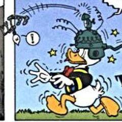 Filament éjecté du casque de Donald, et de la page par la même occasion.