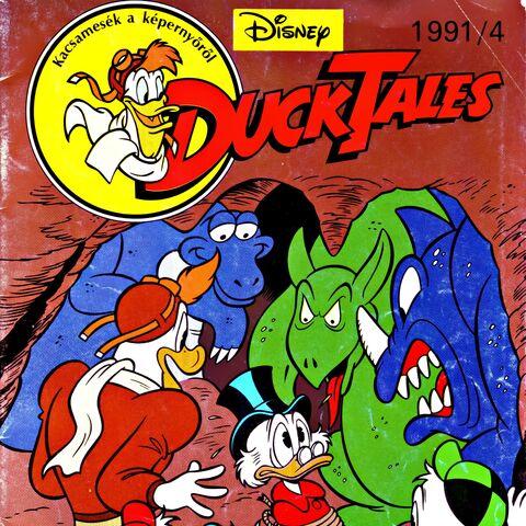 Couverture du magazine hongrois <i>Duck Tales</i> n1991-04, réalisé par un dessinateur inconnu.