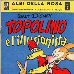 Couverture de <i>Albi di Topolino</i> n°151 paru le 29 septembre 1957 et illustrant l'histoire.