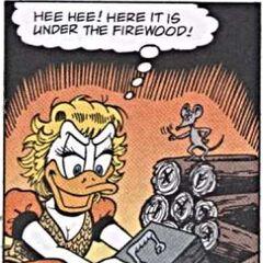 Une souris voyant Goldie s'emparer de la mallette.