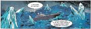 Le bateau finit entouré d'icebergs