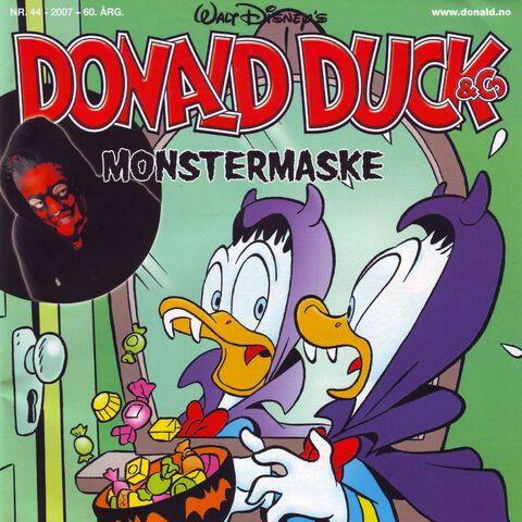 Couverture de la revue norvégienne <i>Donald Duck & Co</i> n°2007-44 du 29 octobre 2007 illustrant ce récit. Elle est dessinée par <a href=