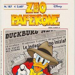 Couverture de la revue italienne <i>Zio Paperone</i> n°187 d'avril 2005 illustrant ce récit. Elle est dessinée par <a href=
