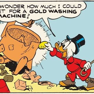 Picsou transformant une vieille baignoire en or grâce à la pierre philosophale.
