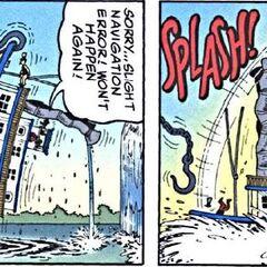Grégoire, debout sur les mur du bateau, retombant quand le bateau se remet dans le bon sens.