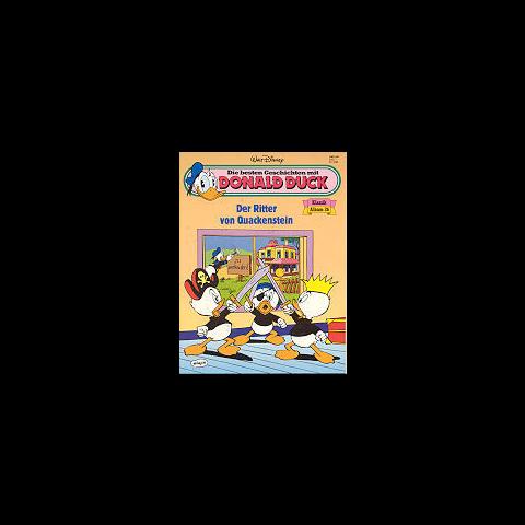 Couverture du magazine allemand <i>Die besten Geschichten mit Donald Duck - Klassik Album</i> n°26 illustrant l'histoire et reprenant une case de Carl Barks.