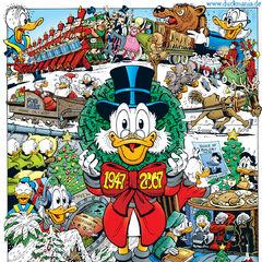 Illustration de Don Rosa à l'occasion des soixante ans de Picsou nommée <i>Soixante ans avec Picsou. Et déjà soixante-et-un joyeux Noël...</i>.  <i>Noël sur le mont Ours</i> y est représentée en haut, sur les extrémités gauche et droite.